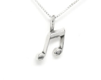 Music Note Small Sterling Silver Charm Pendant Customize no. 1887