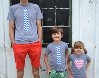 SET OF 3 Father Day for Dad Son Daughter Mens Boys Father's Day Tie Applique Shirt Long Sleeve T Shirt Kids- Chevron Fabric valentine's