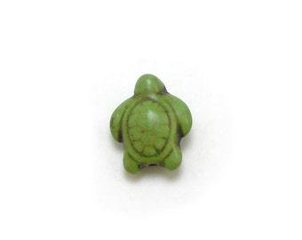 10 Green Turtle Beads howlite turtles 18MM (H7069)