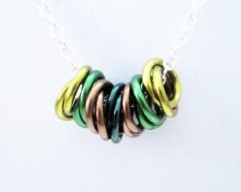 Camo Mobius Rings Necklace Handmade