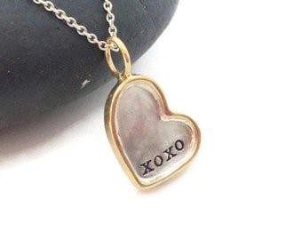 Hand stamped gold rimmed heart disc necklace