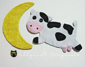 Cow Jumped Over the Moon Applique, Cow Patch,Cow and Moon Applique, Cow, Moon, Applique, Hey Diddle Diddle Nursery Rhyme