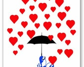 Lobster In Love, Lobster with Umbrella in a Shower of Hearts, Art Print or Glossy Greeting Card