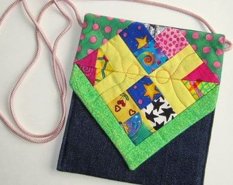 Sidepocket Purse, Crossbody Purse, Hip Bag, Shoulder Bag, Cell Phone Purse, quilted patchwork and denim