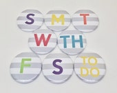 Days of the Week Button Magnets -Colorful