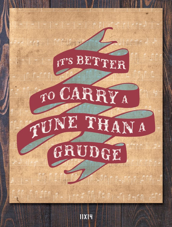 Carry A Tune Giclee Poster Art Print, FREE shipping in US, Multiple Sizes. Mothers Day Gift, Fathers Day, Teacher Gift, Musical Gift