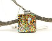 Jellyfish Pendant - Fused Dichroic Glass Necklace - Dichroic Glass Jewelry - Jellyfish