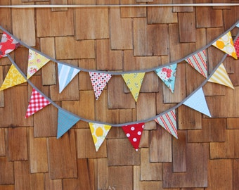 On SALE Carnival Theme Fabric Bunting in Boy or Girl Theme,12 Flags, Wedding Decor, Photo Prop, Party Decor, Pennant Flags. 6' Medium Flags.