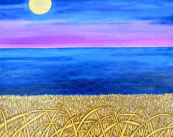 August Moon ocean landscape art Print Shelagh Duffett