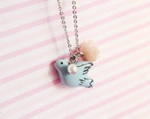 Little Dove Necklace, Shabby Chic, Romantic, Whimsical Jewelry