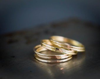 14k Solid Gold Ring Set of 7, Recycled Gold Jewelry, Delicate Stacking Rings, Hammered Gold Rings