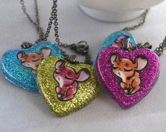 Smug Deer Heart Necklace - LAST ONE