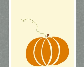 Orange Pumpkin, Fall Home Decoration, Art Print, digital art, wall art, 8X10