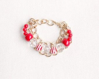 Upcycled Vintage Bracelet / Red White Beads / Nautical Chain Bracelet