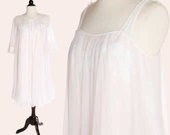 Vintage Peignoir Nightgown Set / Pink Peignoir Set / Gossard Artemis Nightgown Set