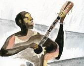 A musician playing / Guitar Man // ORIGINAL work / watermedia painting / ooak  acoustic guitar  la guitarra