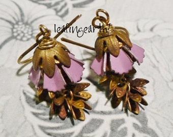 vintage enamel and brass flower dangle earrings
