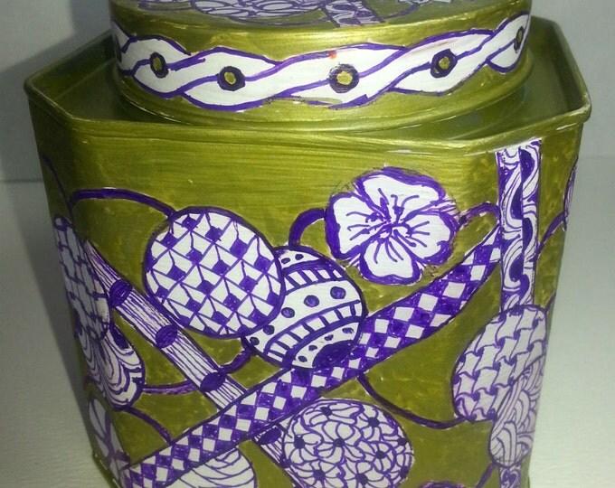 Decorated Tin Gratitude Jar Tea Herbs