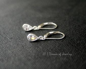 Tiny sterling silver earrings- teardrop CZ crystal, clear, leverback