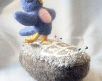 Hopscotching Bluebird Needle Felted  Pin Cushion
