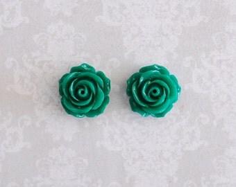 Green Rose Flower Girly Plugs - 4g, 2g, 0g, 00g