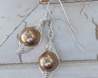 Pearl Earings, Silver Earrings, Tan or Champagne Pearls - Wire Wrapped Pearls - from casual wear to WEDDING JEWELRY