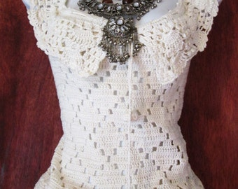 White crochet top lace blouse winter cream ivory vintage sheer  romantic  medium from vintage opulence on Etsy