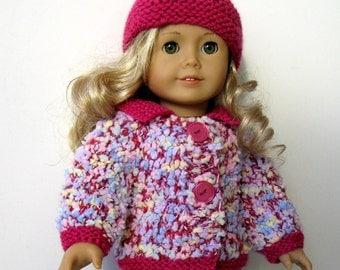 American Girl 18 inch DOLL clothes Confetti basic cardigan & hat KNITTING PATTERN (043)