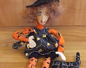 Primitive Halloween  Folk Art Witch Art Doll And Her Stuffed Cat