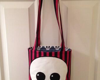 SMALL TOTE BAG Skully Skull Day of the Dead Dia de los Muertos Canvas Purse Handbag Spoonflower Fabric Small