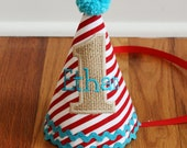 Boys 1st Birthday Circus Party Hat - red stripes, burlap, and aqua - Free personalization