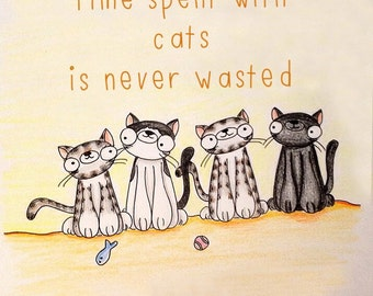 Time Spent With Cats Blank Note Card