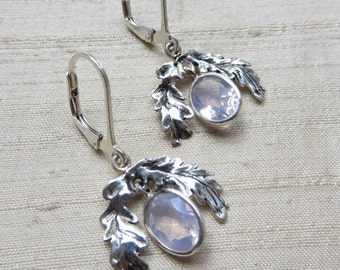 The Oak Leaf Earrings- Lavender Moon Quartz and Sterling