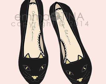 Cat Flats Fashion Illustration Art Print