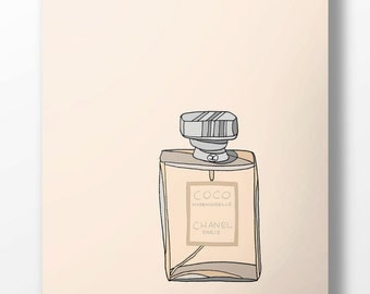 Chanel Coco Mademoiselle Perfume Fashion Illustration Art Poster
