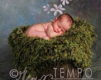 Mossy Baby Blanket Photo Props. Green Grass Outdoor Look Infant Newborn Photography
