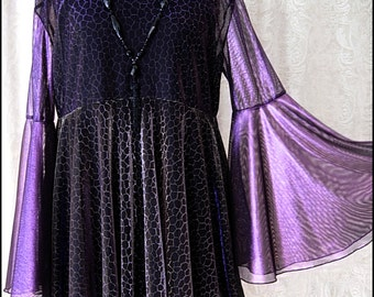 Shimmering Purple, Black and Gold Shadowen Blouse by Kambriel - Brand New & Ready to Ship!