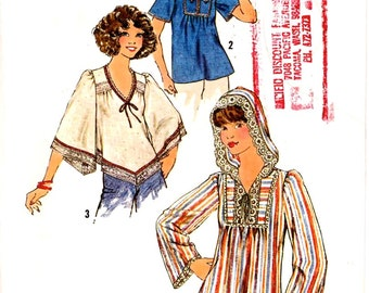70s Boho tops vintage sewing pattern Retro style pattern Simplicity 7811 Bust 36 UNCUT