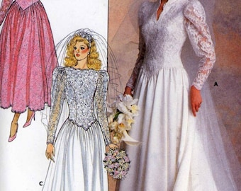 80s Wedding dress Bridesmaid dress Romantic vintage sewing pattern Butterick 4646 UNCUT Bust 34