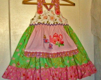Girls Strawberry Tea Party Knot Dress  Toddler or Baby Girl Reverse Knot Dress