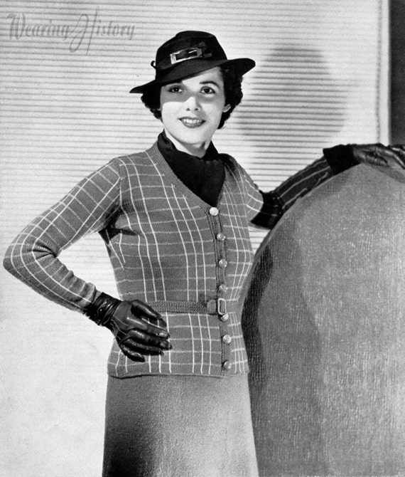 Vintage Sweaters – 1910s, 1920s, 1930s Pictures 1930s Knitting Pattern- Plaid Button Up Blouse and Skirt- PDF Pattern Instant Download $2.99 AT vintagedancer.com
