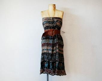 vintage BATIK gauze dress / 1970s ETHNIC print sheer bohemian skirt