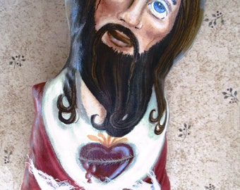 Sacred Heart Jesus wall hanging by Creativelyjuiced Painted Fabric Doll Original Folk Art