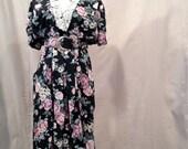 Vintage Sale - Olde English Garden Dress, size Medium, - Romantic Rose Garden Eighties Dress, vintage clothing, women's dresses, roses, lace