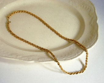 Vintage Monet Necklace Gold Tone Metal Twisted Chain Rope Bracelet Signed Costume Jewelry Preppy Winter Fashion Wedding Classic Accessories