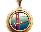 City Locket - Meet Me In San Francisco - Golden Gate Bridge California Photo Locket Necklace