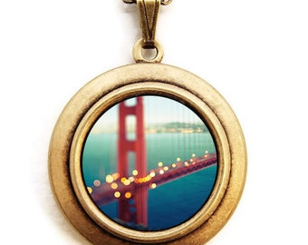 City Locket - Meet Me In San Francisco - Golden Gate Bridge California Photo Locket Necklace