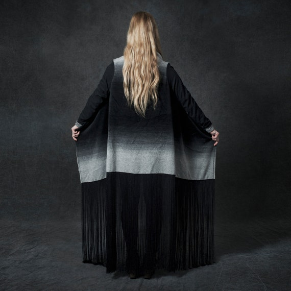 Ombre Wool Cashmere Blanket Cardigan with Fringe - One size