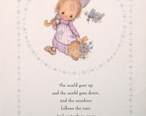 """Betsey Clark Precious Moments - """"The World Goes Up"""" - 1972 Vintage Book Page"""