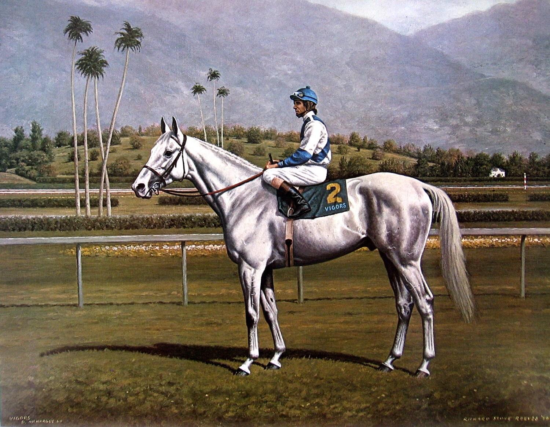 Horse Print Race Horse Vigors Jockey Darrel Mchargue Santa